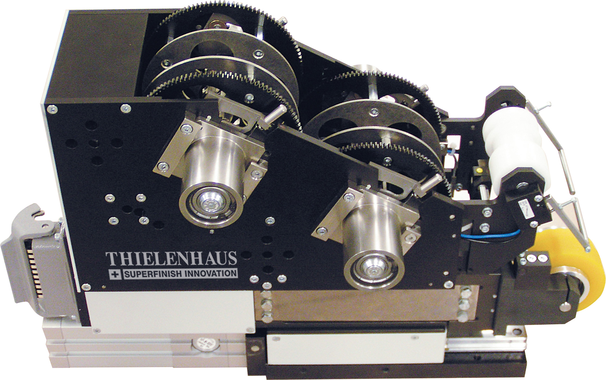The KG50-DB tape finisher is a double-tape machine and can process two immediately adjacent batches simultaneously | Thielenhaus Superfinish Innovation | Tape finisher KG50-DB